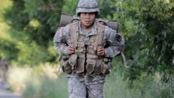 Cadet during ruck march