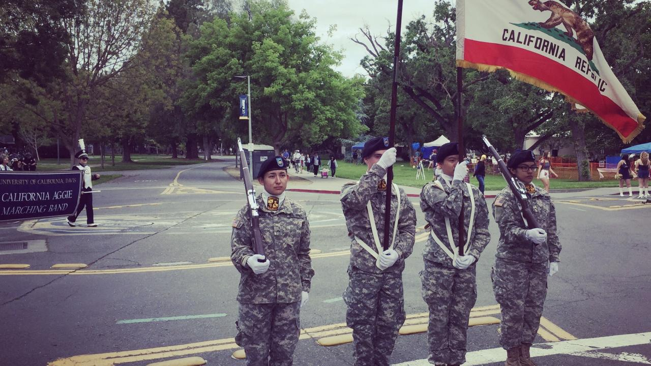 Cadets holding flags
